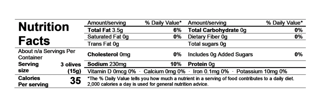 nutrition facts divina pitted greek olive mix